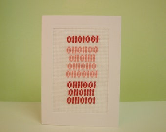 I Love You Binary Anniversary Valentines Card Cross Stitch