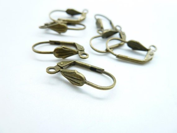 20pcs 10x19mm Antique Bronze Brass French Earring Hook Earwires c5133