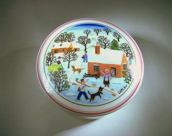 Vintage Villeroy and Boch - Naif Christmas - Porcelain - Signed Laplau - Trinket Box