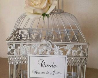 Ivory Rose Large Bling Bird Cage-Wedding card holder