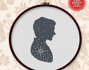 Silhouette Man of stars - PDF cross stitch pattern