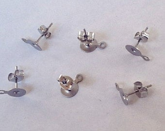 NEW - 10 pairs Stainless Steel 6mm Earring Posts with Loop and Backs
