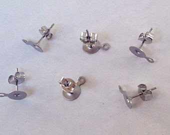 20 (10 pairs) Stainless Steel 6mm Earring Posts with Loop and Backs