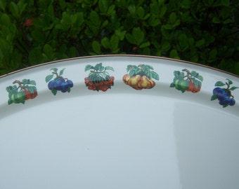 Tabletops Unlimited Enamel Kensington Garden Large Tray Cream Purple Green Wedding Gift