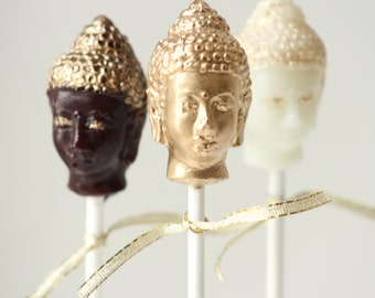 Golden Buddah Head Lollipops 12 pieces