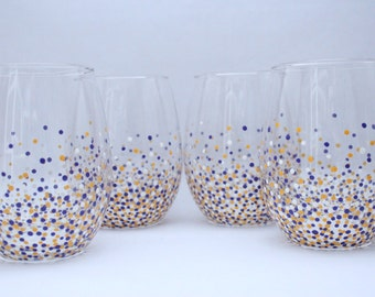 LSU dot glasses, Lsu confetti glasses, purple white and yellow wine glasses, fun wine glasses, hand painted wine glasses, painted wine glass