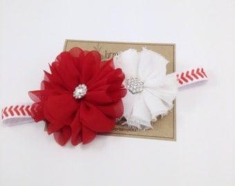 Baseball Headband Red Ballerina Flower Headband Black Headband White Headband Photo Prop Girls Headband Adult Headband Newborn Headband