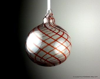 classy red spiral blown glass ornament