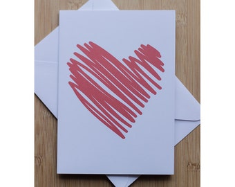 Scribbled Red Heart Just Because Love Card Multi Use Gender Neutral