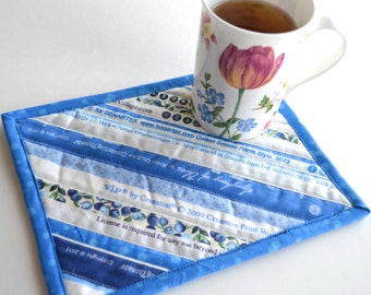 Upcycled Mug Rug in Shades of Blue, Patchwork Selvage Coaster, Cottage Chic Cotton Placemat, Table Protector, Mini Quilt, Blue