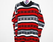 Vintage Sweater Snowflakes on Stripes One Size 1980's