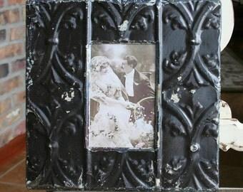 Genuine Antique Ceiling Tin Picture Frame -- 4 x 6 -- Black Paint -- Scrolling Design