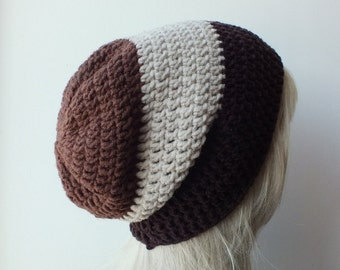 Mens slouch striped beanie brown-oatmeal , womans mens unisex