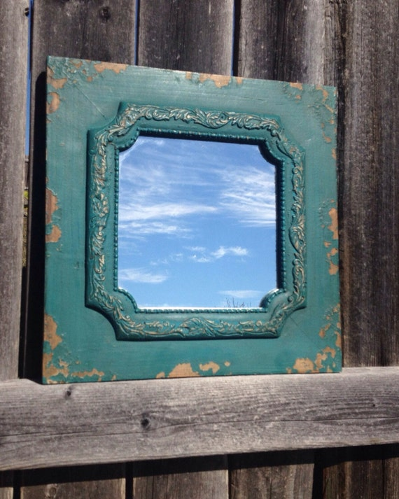 Framed mirror distressed teal turquoise aqua blue by for Teal framed mirror