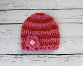 Crocheted Baby Flower Hat - Pink & Orange