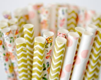 Paper Straws Limited Edition Mix . Floral Coral Gold Chevron . bridal shower decorations / mason jar buffet table / wedding party decor