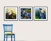 Acrylic Painting Set of 3 GICLEE Prints Of Original Acrylic Painting SILK Painting Fine Art Print Koi Fish Painting