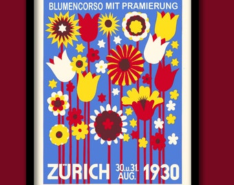 Art Deco Poster. 1930s Flower show. Vintage Stamp art. Art Deco wall art. Vintage flowers poster. .1930s decor. Bright print. Deco style