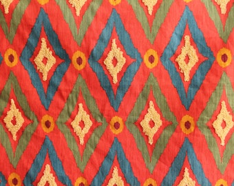 FABRIC - 2 Yards and More - Robert Allen Modern Ikat with Tufted Loops in Poppy - Poppy Red, Blue, Green, Gold with Tan Tufts