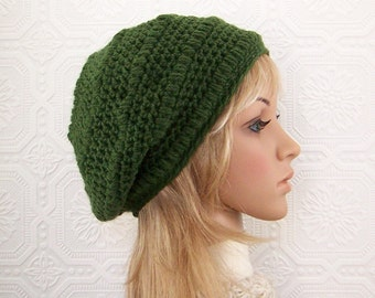 Crochet Womens Hat - Olive Green - winter accessories by SandyCoastalDesigns - ready to ship