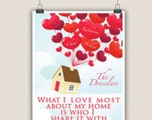 Disney Up inspired - What I love most about my home is who I share it with - Personalized Print
