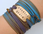 Silk wrap bracelet- Amazing Grace- Boho Silk Wrap Ribbon Bracelet- ribbon bracelet- wrap- gypsy- hippie- boho bracelet
