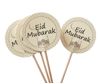 10 Eid Mubarak Cupcake Toppers - No1079