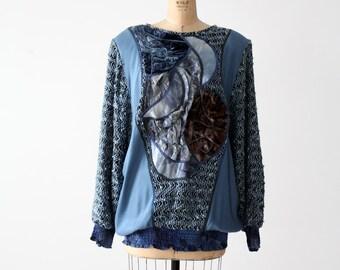 1980s velour patchwork blouse , oversize blue top