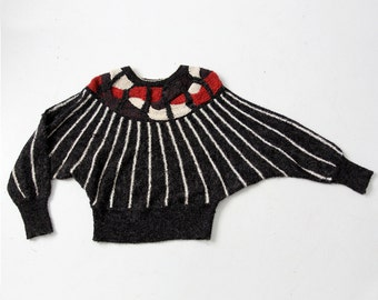 1970s butterfly sleeve sweater, geometric knit top with batwing sleeve