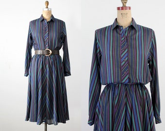 1980s striped dress, long sleeve shirt dress, secretary blouson dress