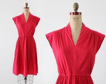 vintage 70s dress,  magenta chevron dress