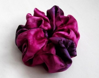 Raspberry Red and Deep Purple Silk Scrunchie