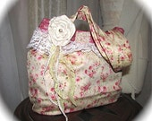 English Rose Handbag, pink florals handmade soft cotton fabric purse shabbys chic country cottage bag, romantic cabbage rose garden flowers