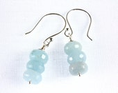 Aquamarine Stack Earrings, March Birthstone Earrings, Aquamarine and Sterling Silver