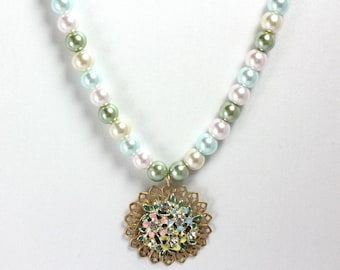 Pastel Pearl Necklace, Spring Flower Necklace, Floral Necklace, Pastel Flower Pendant, Vintage Flower Pendant