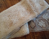 Antique  6 yards Ivory Rare Fine Lace  with Grapes and grape leaves  details Lace