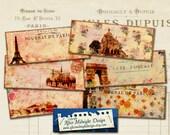 Digital bookmark  No 2 Postcard Bookmarks, Vintage Paris motifs, 2 x 5 inch, 8 vintage designs