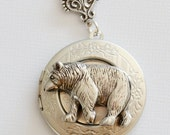 Bear Locket, Silver Locket,Jewelry Gift,locket necklace,photo locket,vintage style locket,Wedding Necklace,bridesmaid necklace