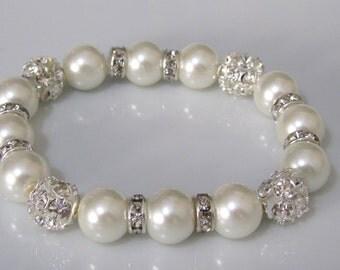 Pearl bracelet with rhinestones and rondelle spacers  - Bridal bracelet - Bridesmaid bracelet