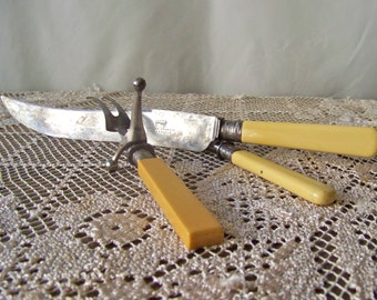 Vintage Carving Set Sheffield Silver Hallmarked Crown Lion S & N Circa 1910 Bone Handles Carbon Steel Blade Knife Fork Sharpening Steel