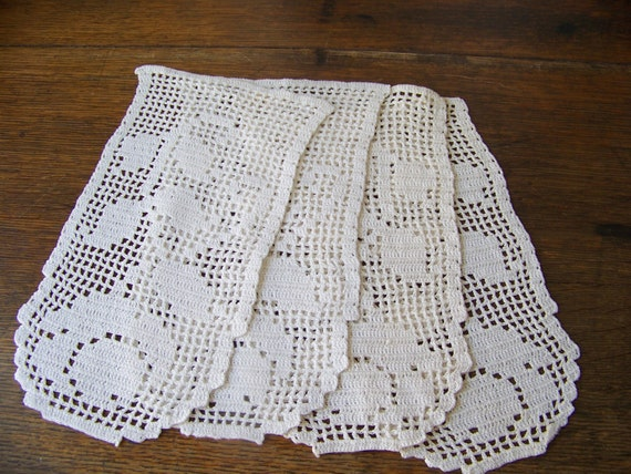 Vintage Crochet Arm Chair Filet Crochet Doilies Armrest Cotton