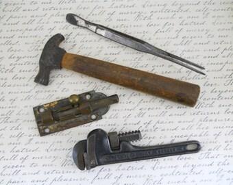 Four Vintage 1940-1950's Tools & Lock