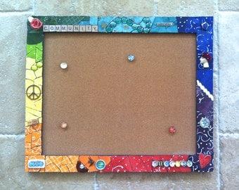 Custom Mosaic Framed cork board, bulletin board,