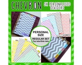 SIZE: PERSONAL Chevron Dividers (Top or Side Tabs / Regular Set) Cute Kawaii Personalised for Filofax Organizer