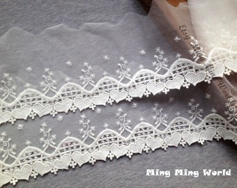 Cotton Net Lace Trim -2 yards Ivory Heart Flower Embroidered Lace (L438)