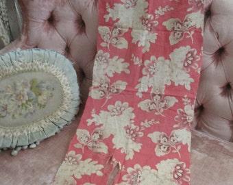 Antique Morceau Fabric Fragment French Toile Floral Mauve Pink Art Nouveau A102