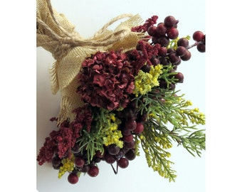 Berry Bridesmaid Bouquet Burlap Rustic Bouquet Evergreen Rustic