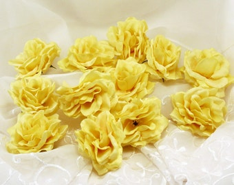 Yellow Roses Artificial Roses 12 Flower Heads Weddings Hair Accessories
