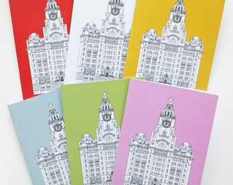 Liverpool Journal, A5 Notebook, Recycled Journal, Blank Journal, Travel Journal, Liver Building Journal, Merseyside