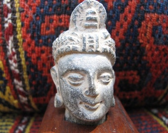 Gandhara Stone Sculpture of Male Head Mounted on Wooden Base, Antique